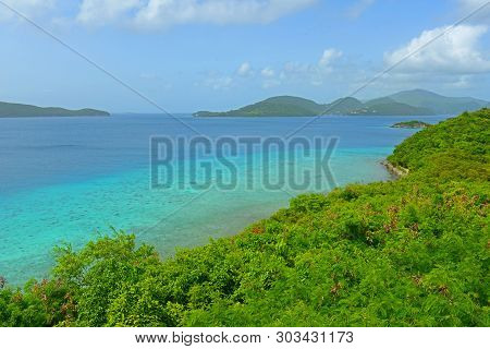 Aerial View Of British Virgin Islands And Leinster Bay, From Virgin Island National Park In Us Virgi