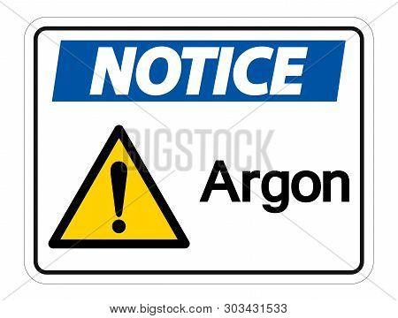 Notice Argon Symbol Sign Isolate On White Background,vector Illustration