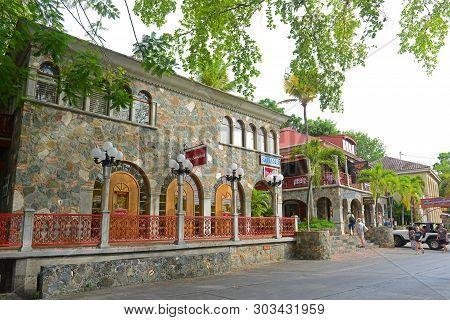 Virgin Islands, Usa - Jun 3, 2014: Historic Buildings On N Shore Road Near Virgin Islands National P