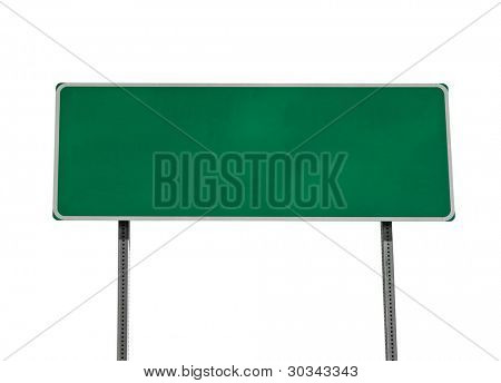 Green blank highway sign isolated on white.