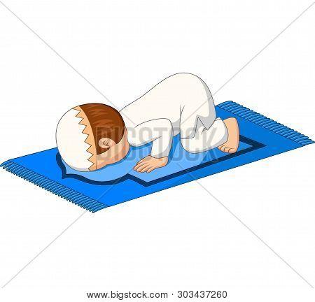 Cartoon Muslim Boy Prayer Bow Down On The Rug