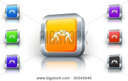 Wrestling Icon on 3D Button with Metallic Rim Original Illustration