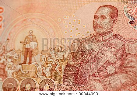 King Rama V on Thai banknote