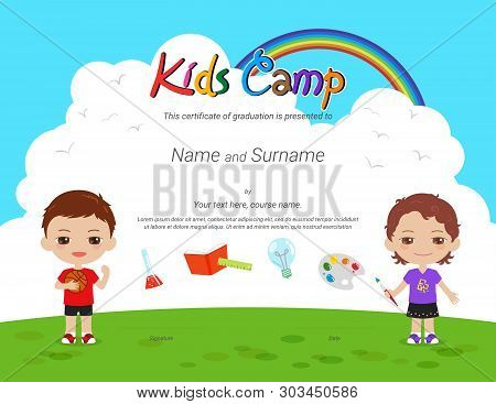 Kids Diploma Or Certificate Template With Colorful Background For Kid Camp