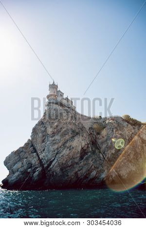 Castle Swallow's Nest on a Rock at Black Sea, Crimea, Russia. View from Sea.