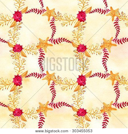 Seamless Pattern With Marine Starfish. Watercolor Background. Can Be Used For Fabric, Wallpaper, Ban