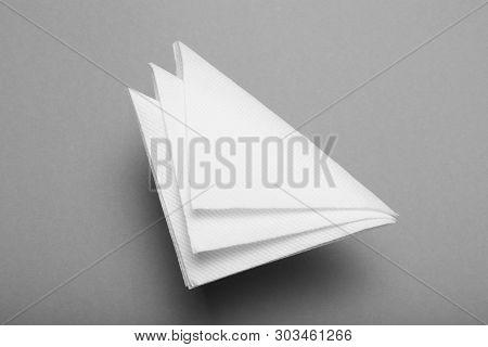 White Bar Napkin Mockup, Clean Paper Serviette.