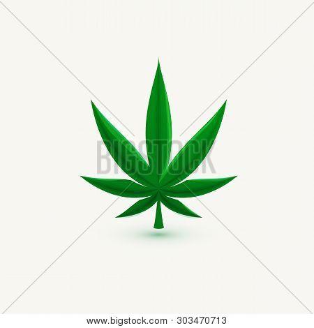 Hemp Leaf, Marijuana Symbol, Cannabis Herb, Isolated Vector Icon, Logo Template.