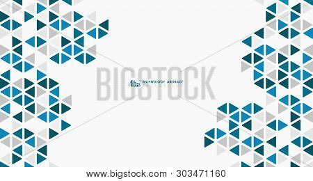 Abstract Wide Blue Cube Of Geometric Hexagonal Low Pattern Design Technology. Illustration Vector Ep