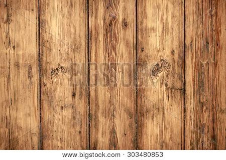 Shabby wooden wall background. Texture of obsolete carpentry wooden boards, panel. Vintage dirty wood floor. Old wooden plank grunge texture. Weathered oaky fence, oaken table, timber. Hardwood brown backdrop, abstract rustic pattern. poster