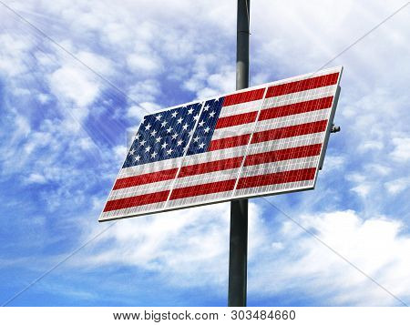 Solar Panels Against A Blue Sky With A Picture Of The Flag Of America