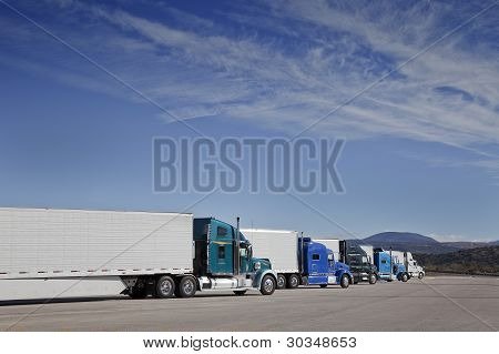Trucks are parking at the Rest Area