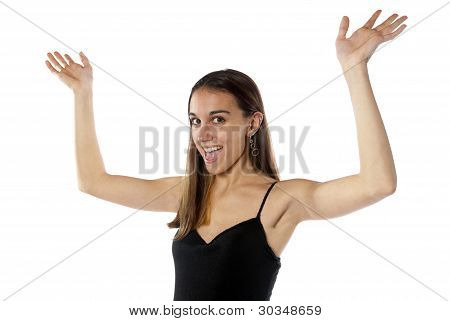 Happy Young Woman Waving Arms In The Air.