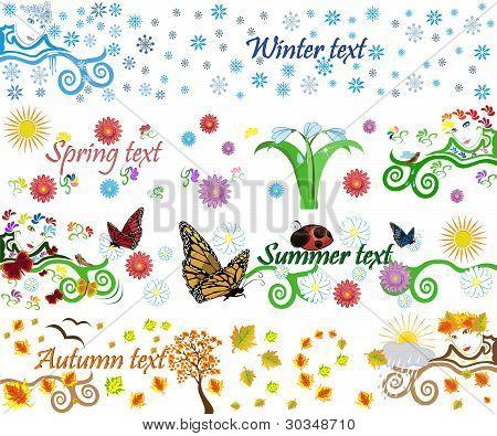 Four Seasons Vector Background