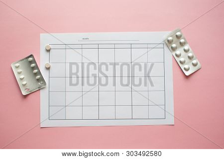 Pms And The Critical Days Concept. Blank Monthly Calendar For Menstrual, Pms Or Ovulation Marks.pain