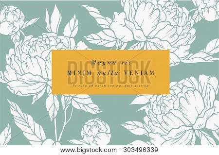Vintage Card With Peony Flowers. Floral Wreath. Flower Frame For Flowershop With Label Designs. Summ