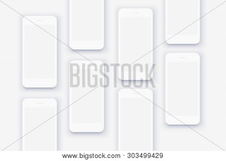 The Background Of The Mockups Of White Smartphones. Set Of Huge Number Phones On White Background. P