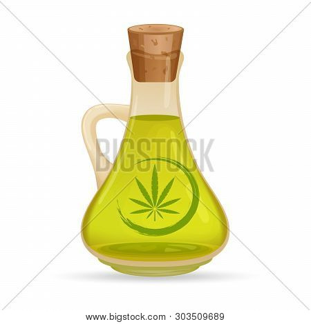 Carafe With Hemp Oil, Isolated On White Background. Glass Jug With Oil. Cannabis Oil Extracts In Jar
