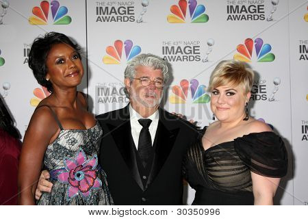 LOS ANGELES - FEB 17:  Mellody Hobson; George Lucas, Katie Lucas arrives at the 43rd NAACP Image Awards at the Shrine Auditorium on February 17, 2012 in Los Angeles, CA.