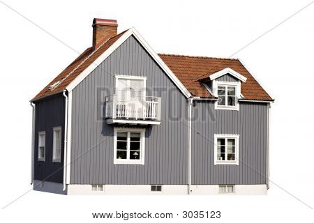 Gray House Isolated On White Background; Stock Photo