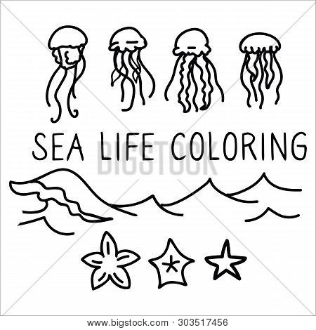 Cute Jellyfish Coloring Page Cartoon Vector Illustration Motif Set. Hand Drawn Isolated Starfish And