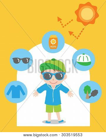 Sun Safety Tips And Boy Kid Illustration. Uv Protection Products,hat,glasses,shade,sunscreen,and Clo