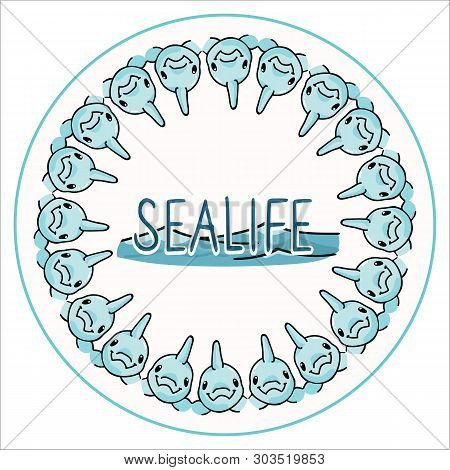 Cute Sealife Dolphin Badge Cartoon Vector Illustration Motif Set. Hand Drawn Isolated Underwater Fau