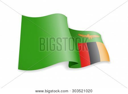 Zambia Flag In The Wind. Flag On White Vector Illustration