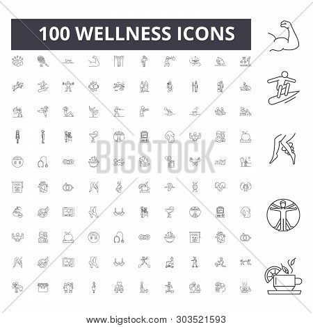 Wellness Line Icons, Signs, Vector Set, Outline Illustration Concept