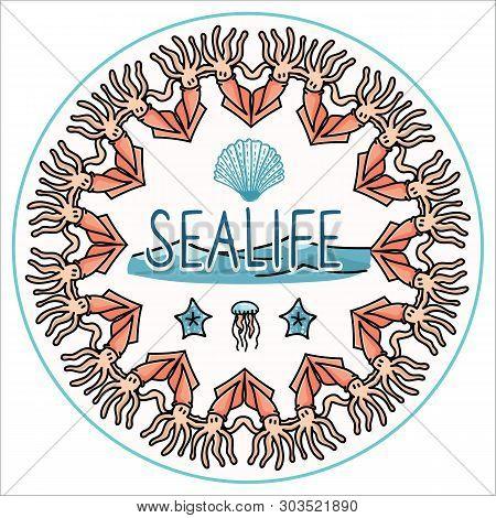 Cute Ocean Life Set Cartoon Vector Illustration Motif Set. Hand Drawn Isolated Starfish, And Cephalo
