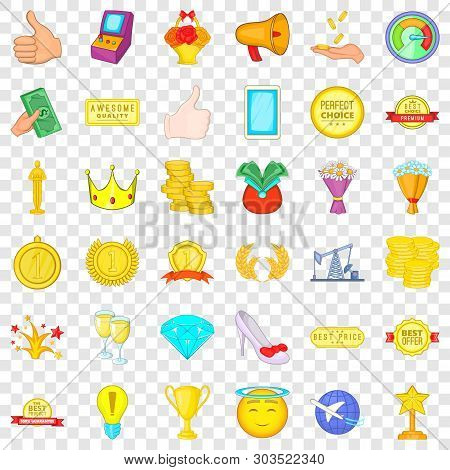 Winning Icons Set. Cartoon Style Of 36 Winning Vector Icons For Web For Any Design