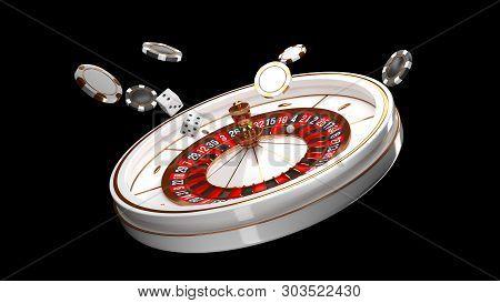 Casino Background. Luxury Casino Roulette Wheel Isolated On Black Background. Casino Theme. Close-up