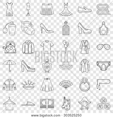 Woman Shopping Icons Set. Outline Style Of 36 Woman Shopping Vector Icons For Web For Any Design