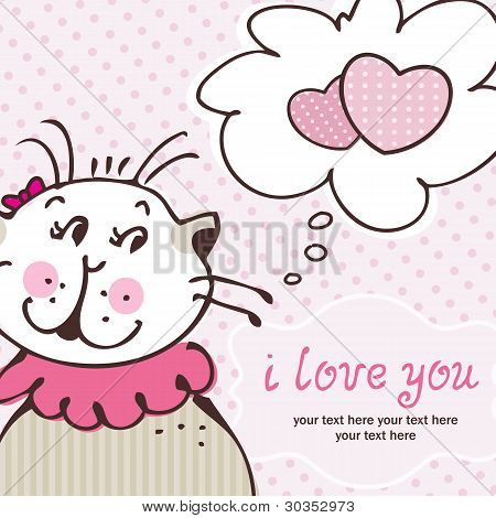 Cat in love on pink card