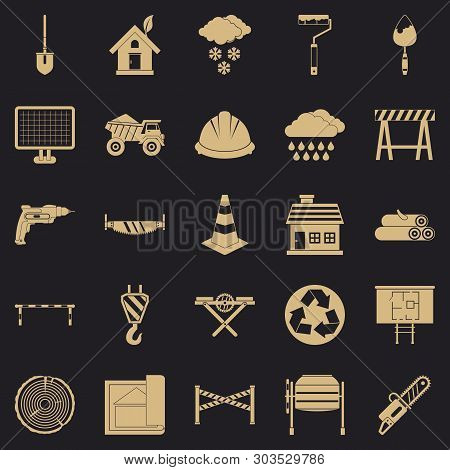 Construction Material Icons Set. Simple Set Of 25 Construction Material Vector Icons For Web For Any