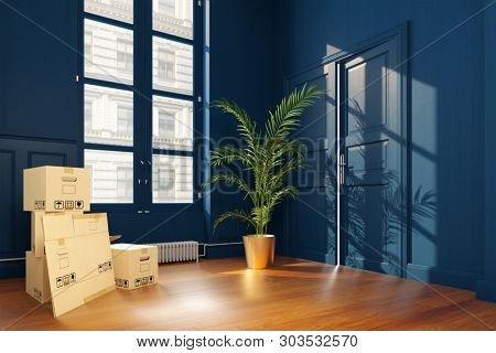 Many moving boxes when moving in an empty blue office with hinged door (3d rendering)