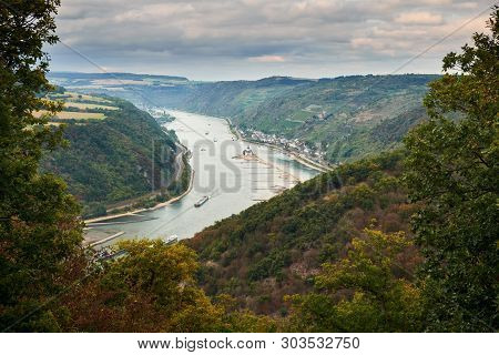 Aerial View Trough Trees On The River Raine From An Observation Point On A Tourist Route On Hills Of