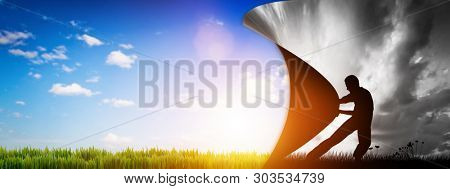Man pulling the curtain up to a new colorful world. Power to make a change for the better. 3D illustration