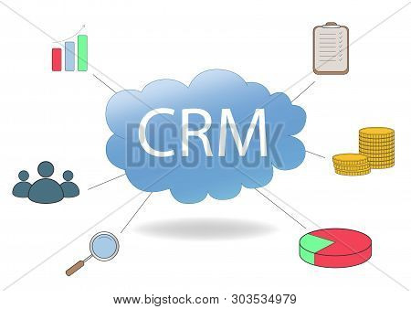 Crm Concept Design With Vector Elements. Flat Icons Of Accounting System, Graphics, Clients, Support