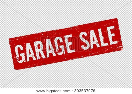 Grunge Red  Garage Sale Square Rubber Seal Stamp On Transparent  Background. Retro Icon For Design.