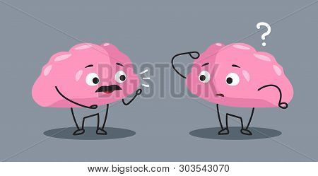 Cute Human Brains Couple Pink Cartoon Characters Discussing Communication Concept Kawaii Style Horiz