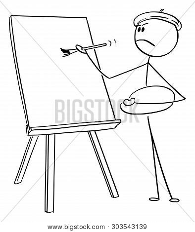 Cartoon Stick Figure Drawing Conceptual Illustration Of Self-important Man Or Artist With Beret And