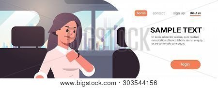Young Businesswoman Looking At Clock Checking Time Business Woman Car Passenger Sitting On Back Seat