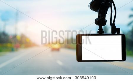 Cctv Car Camera In A Car For Safety On The Road Accident. Technology Concept. Car Camera. Video Reco