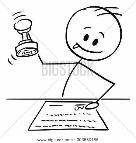 Cartoon Stick Figure Drawing Conceptual Illustration Of Man, Notary Or White Collar Worker Enjoying