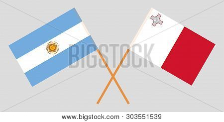 Malta And Argentina. The Maltese And Argentinean Flags. Official Colors. Correct Proportion. Vector