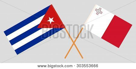 Malta And Cuba. The Maltese And Cuban Flags. Official Colors. Correct Proportion. Vector
