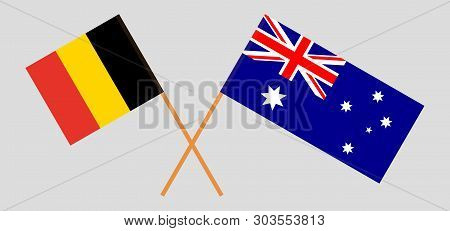 Australia And Belgium. The Australian And  Belgian Flags. Official Colors. Correct Proportion. Vecto