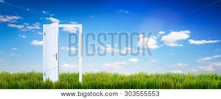 Open door on green grass. Concept of hope, new life etc. Blue sunny sky