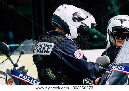 Paris France May 25, 2019 View Of The French National Police In Intervention During Protests Of The